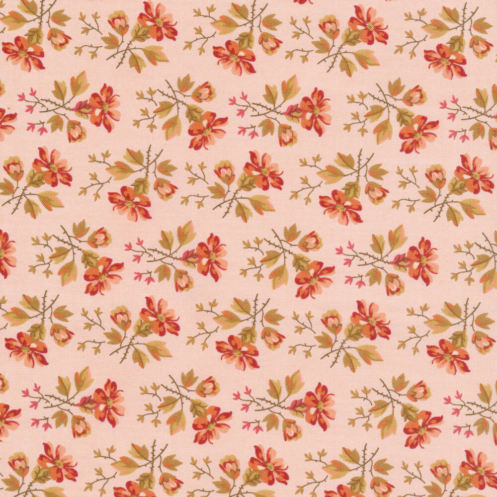 Tossed shabby flowers on a pink background