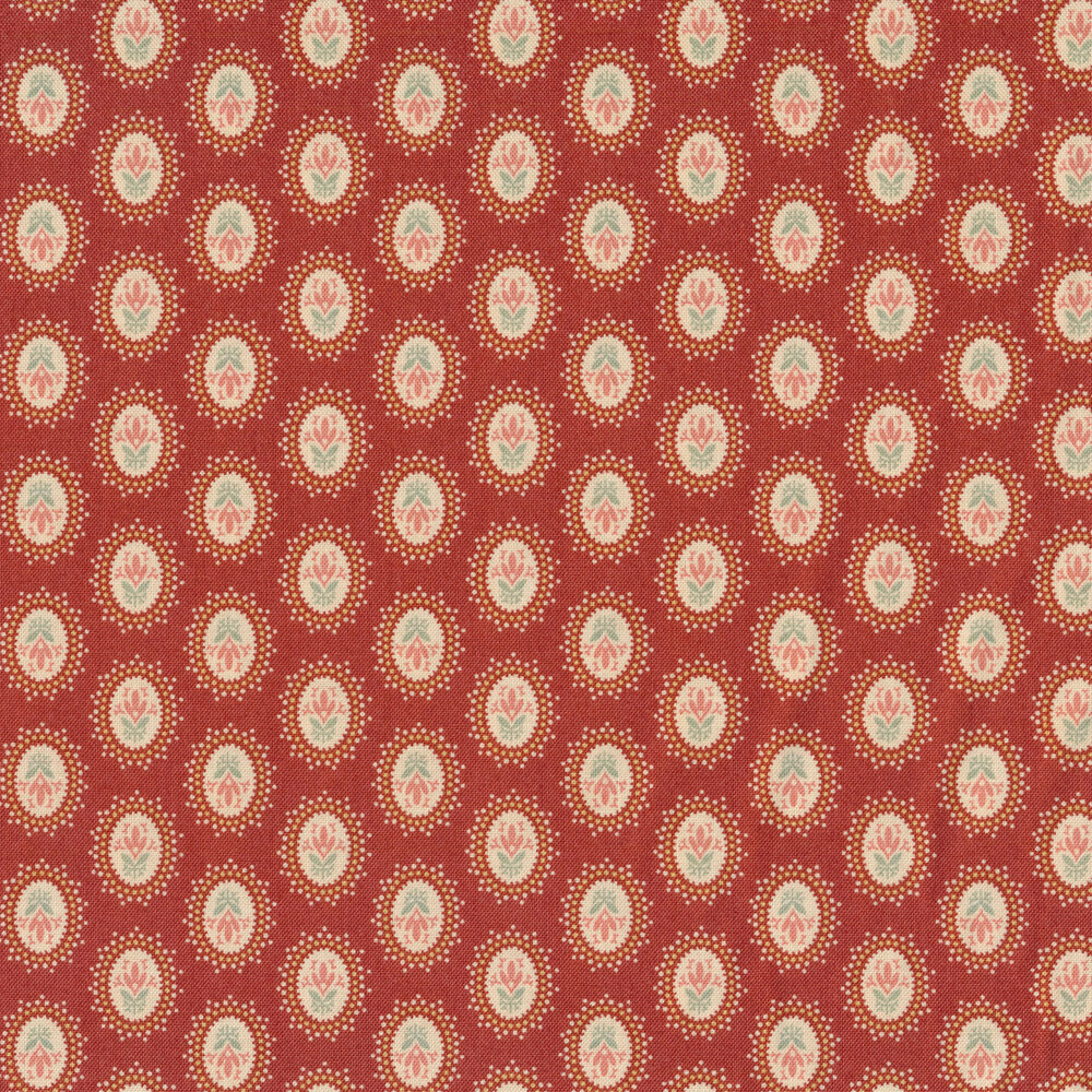 Rows of medallions on a pink background