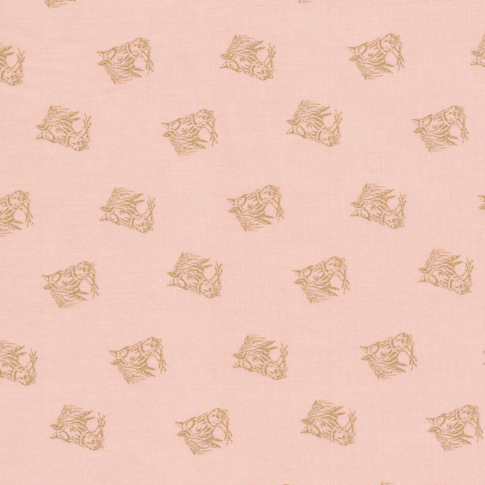 Alternating horse heads on a light pink background