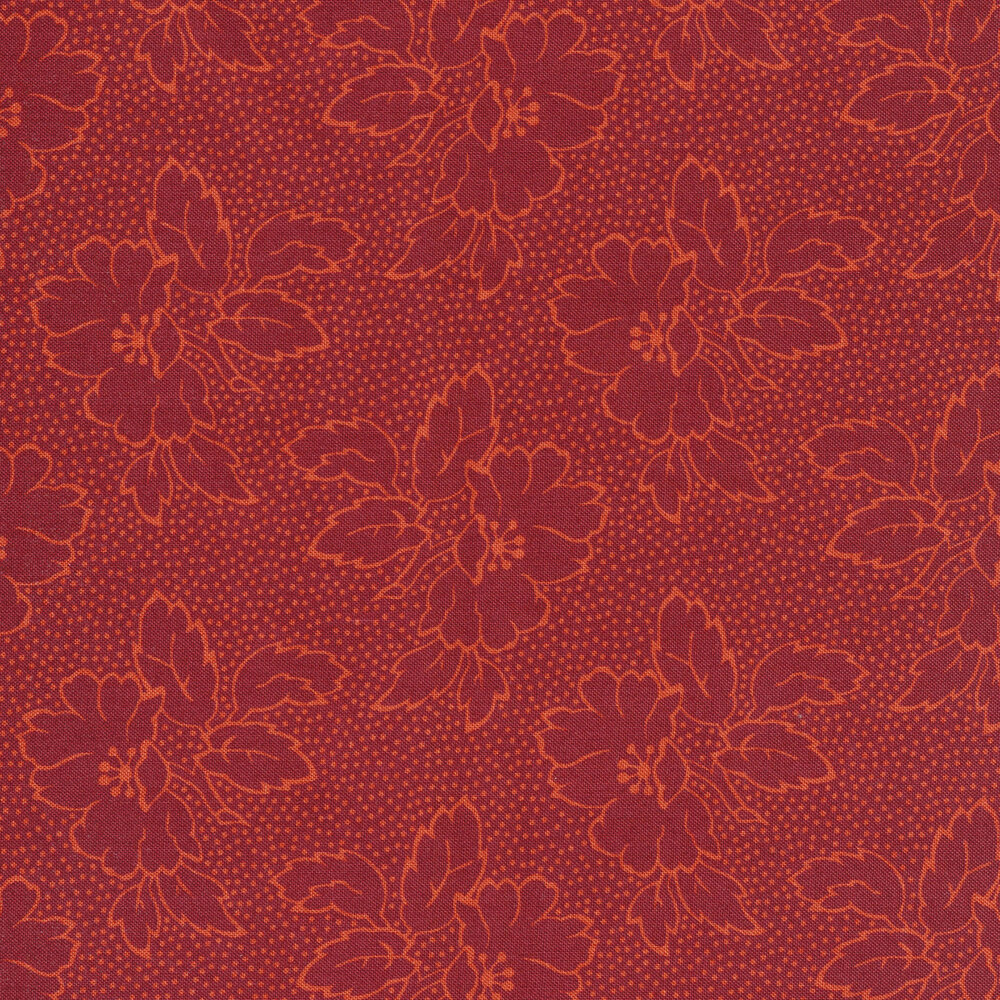 Red floral silhouettes with golden outlines on a red background with small gold dots
