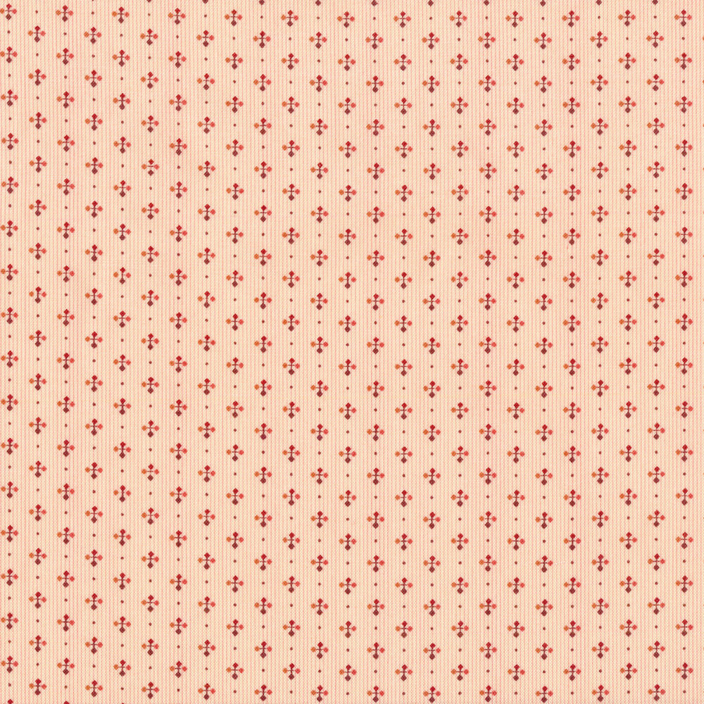 Stripes of dots and crossed arrows on a light pink background