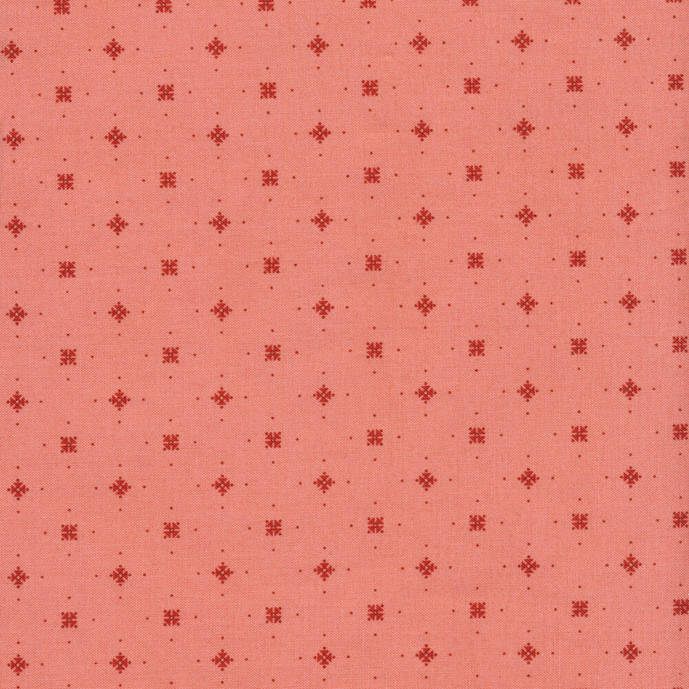 Red diamonds and stars with tiny red dots on a pink background