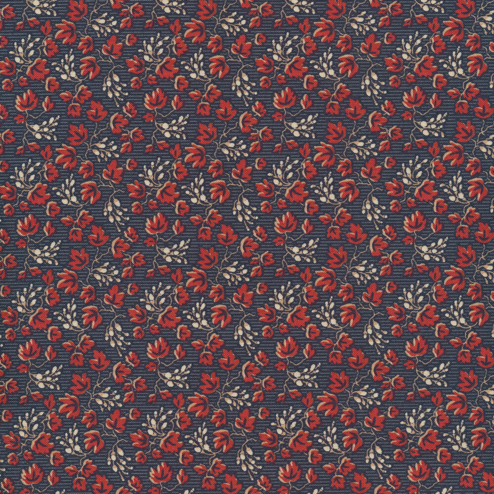 Red leaves all over navy | Shabby Fabrics
