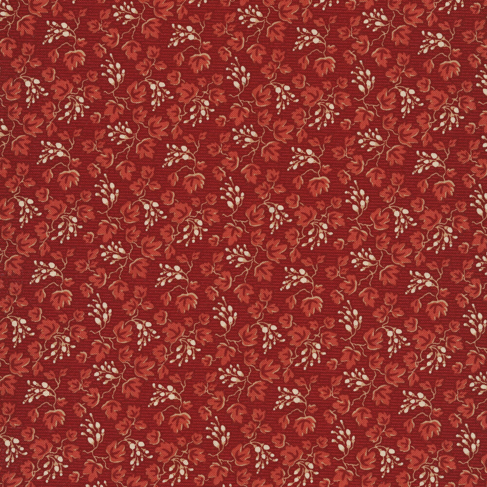 Red leaves all over red | Shabby Fabrics