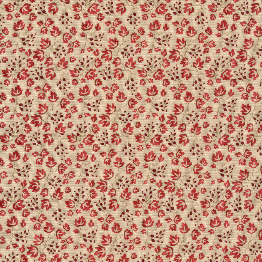 Red leaves all over cream | Shabby Fabrics