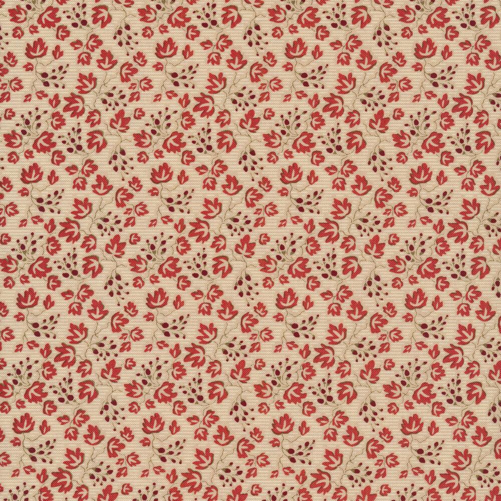 Red leaves all over cream   Shabby Fabrics
