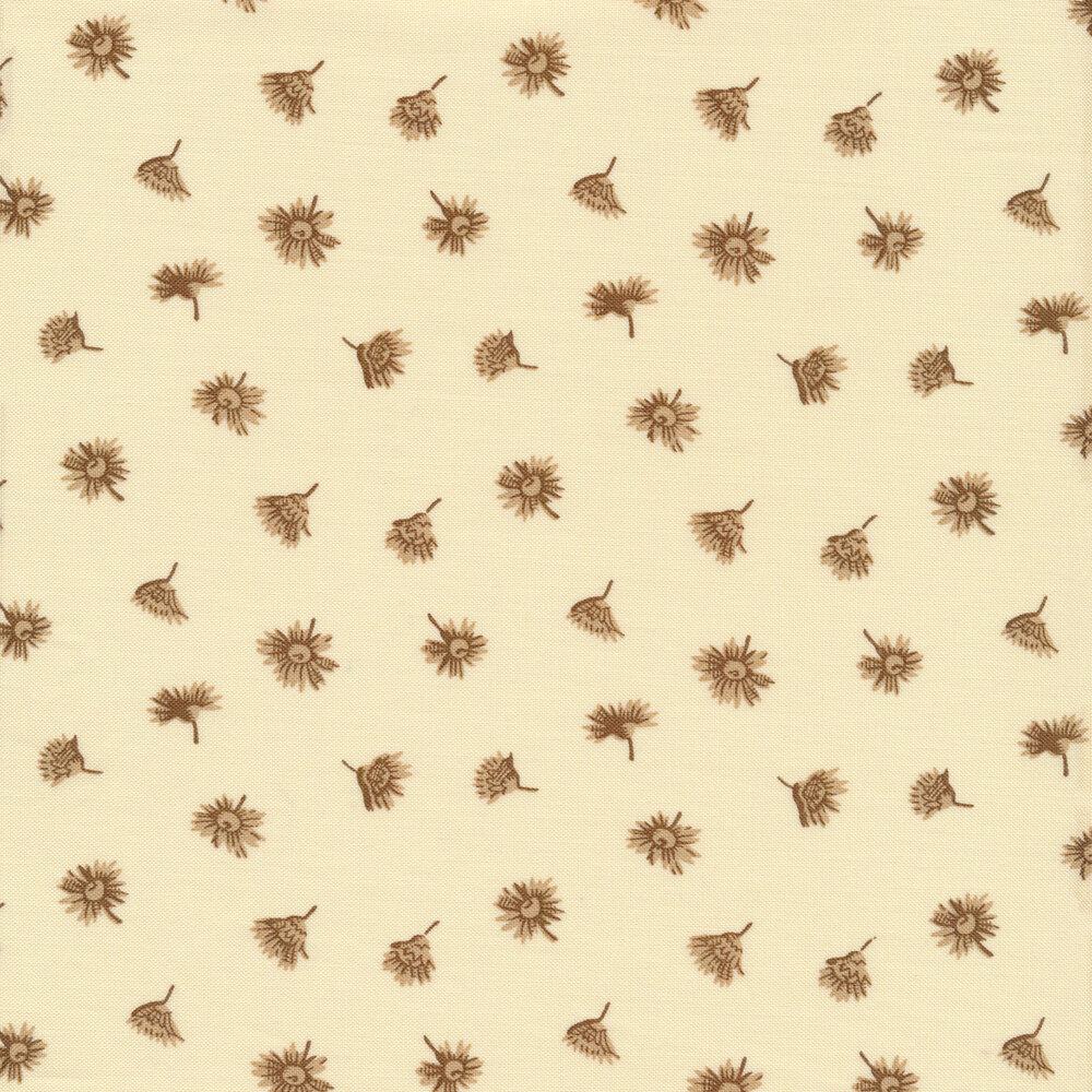 Tan flower buds on cream | Shabby Fabrics