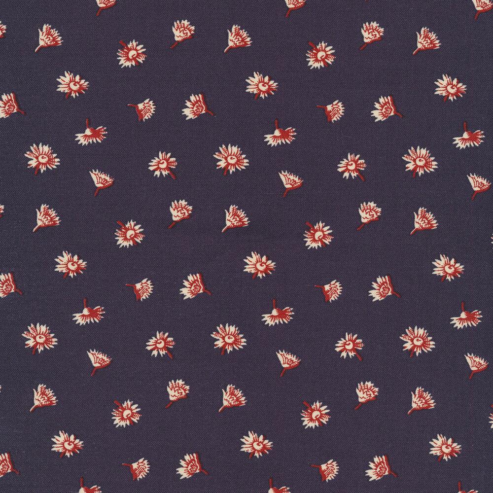 Red flower buds on navy | Shabby Fabrics