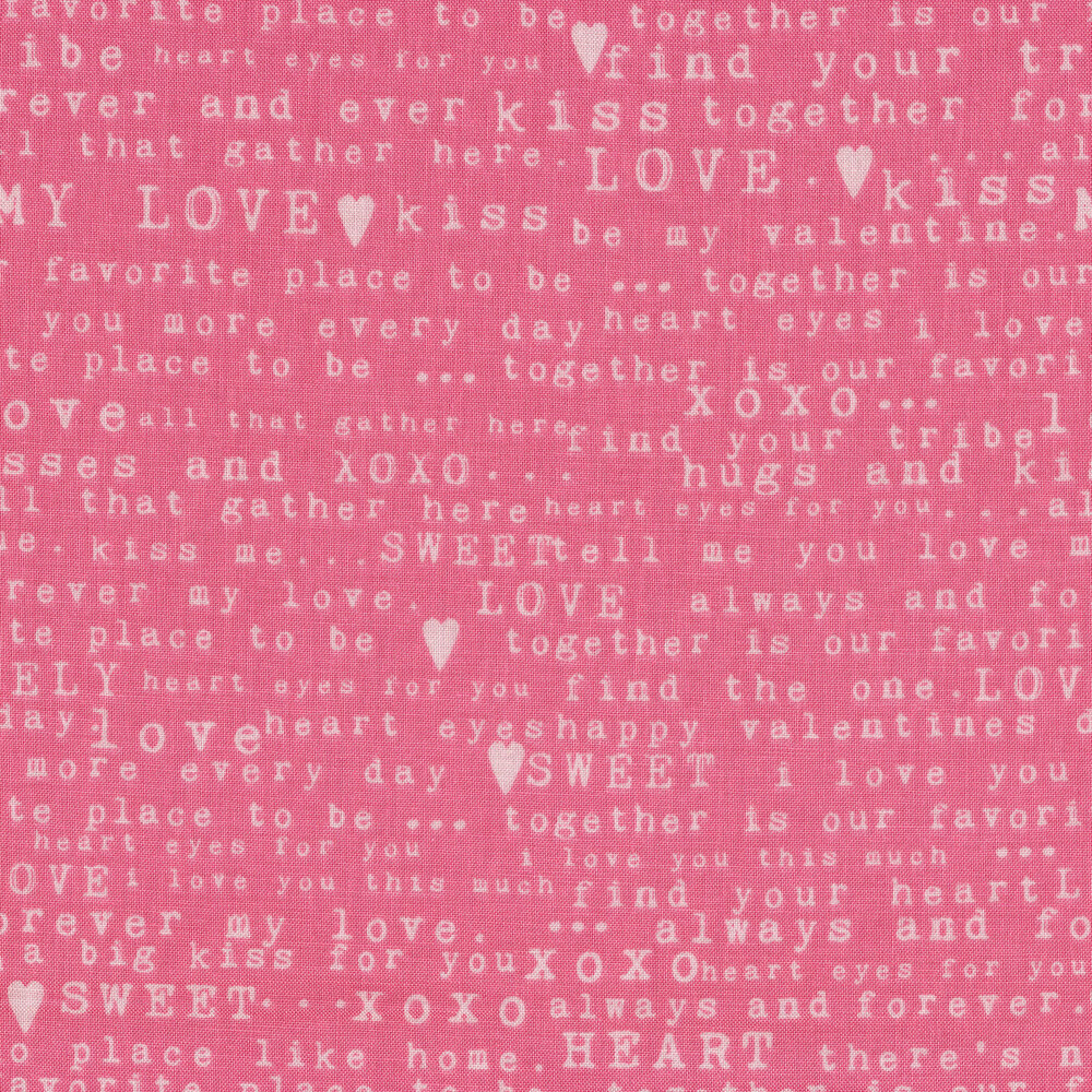 White words on pink | Shabby Fabrics