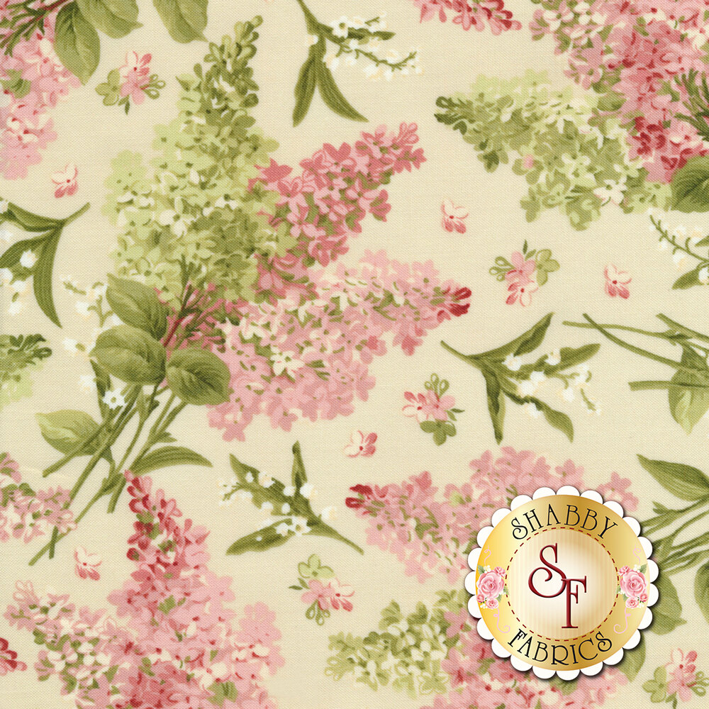 Pink and green flowers all over cream   Shabby Fabrics