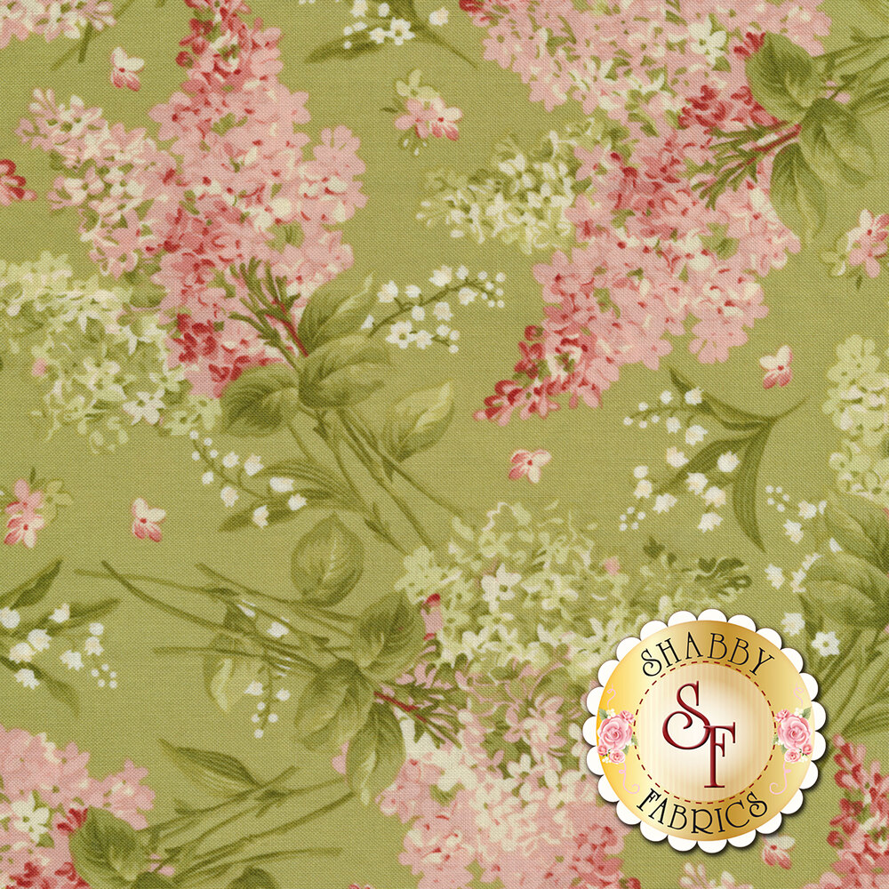 Pink and green flowers all over green | Shabby Fabrics