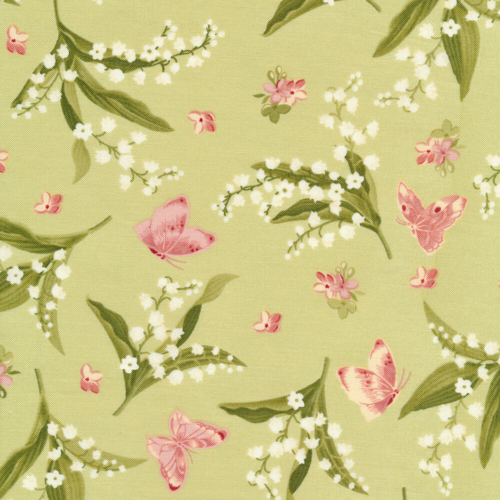 Pink and white flowers with pink butterflies on green | Shabby Fabrics