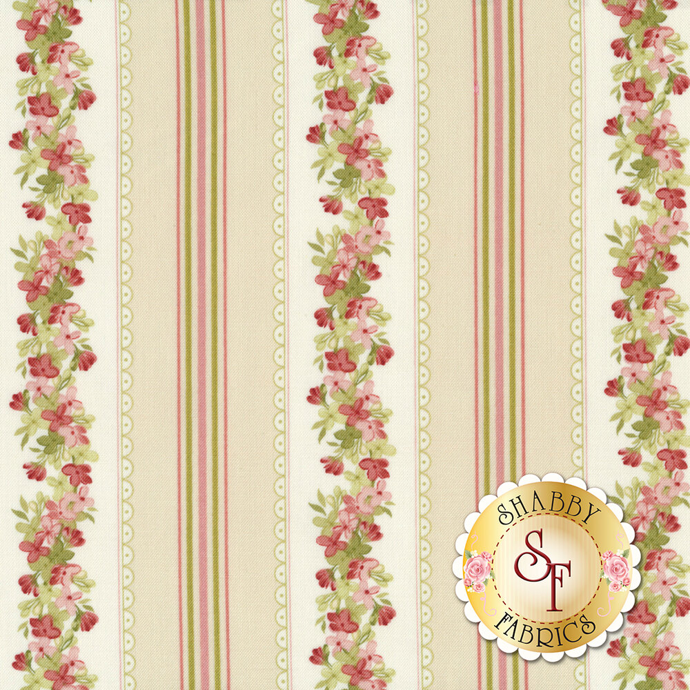 Pink and green floral stripe on cream | Shabby Fabrics