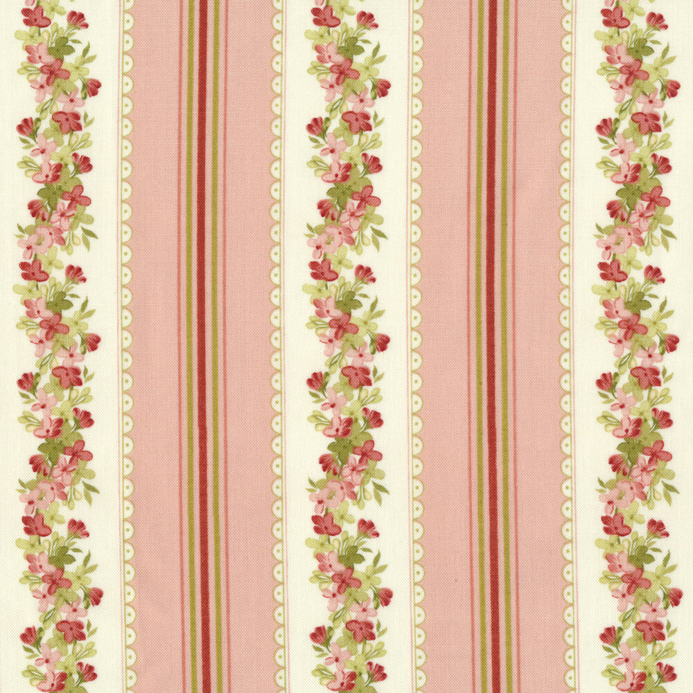 Pink and green floral stripe on pink and cream | Shabby Fabrics