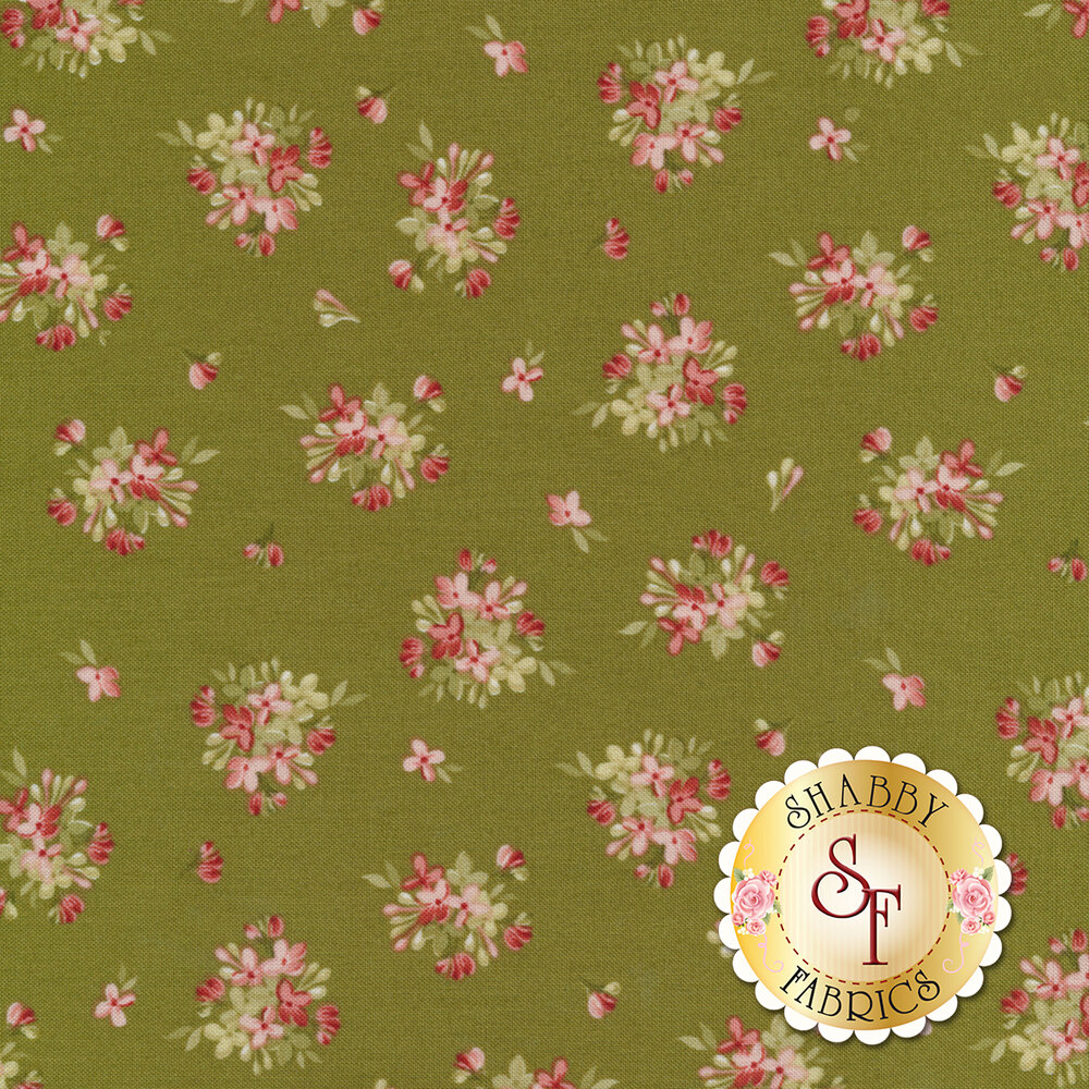 Flower bouquets all over green | Shabby Fabrics