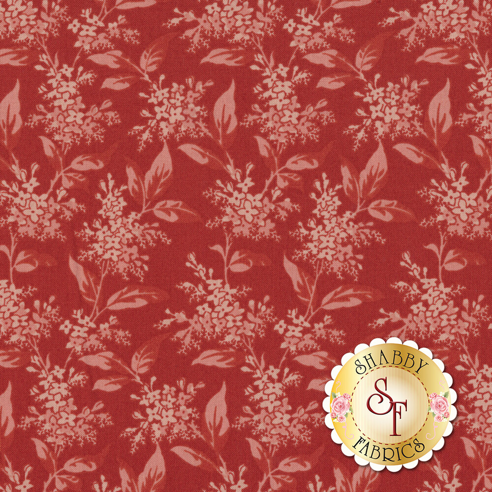 Tonal pink floral design with leaves | Shabby Fabrics