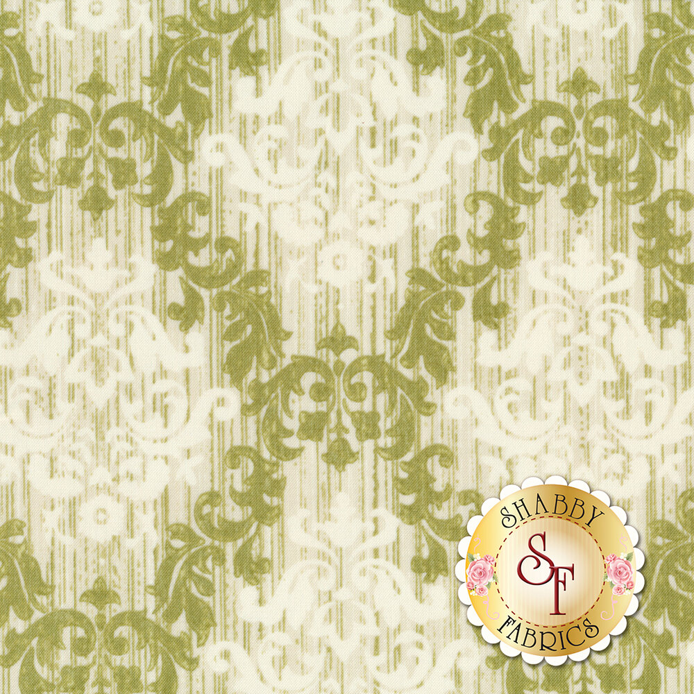 Cream damask in green lattice design | Shabby Fabrics