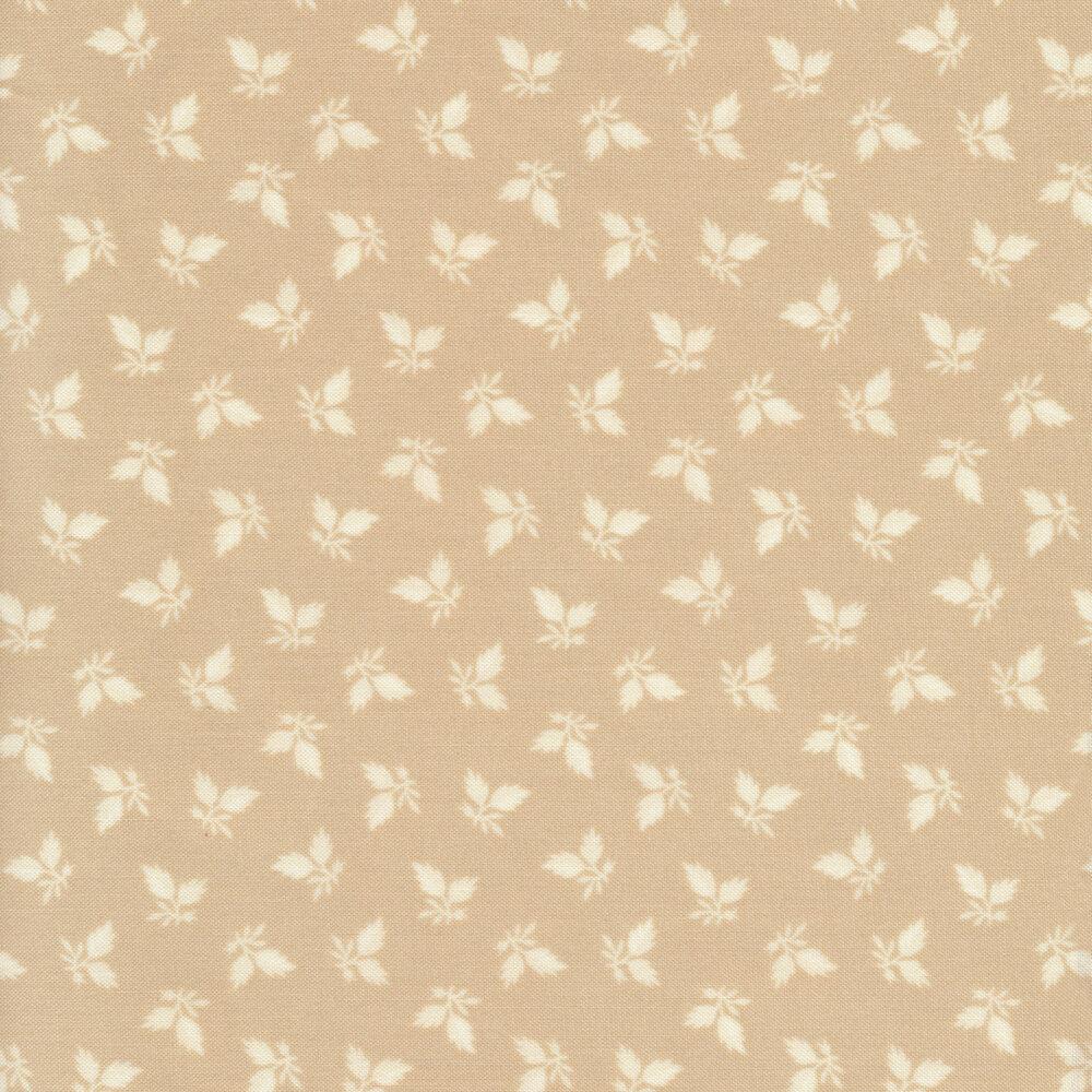Tonal leaves tossed on tan | Shabby Fabrics