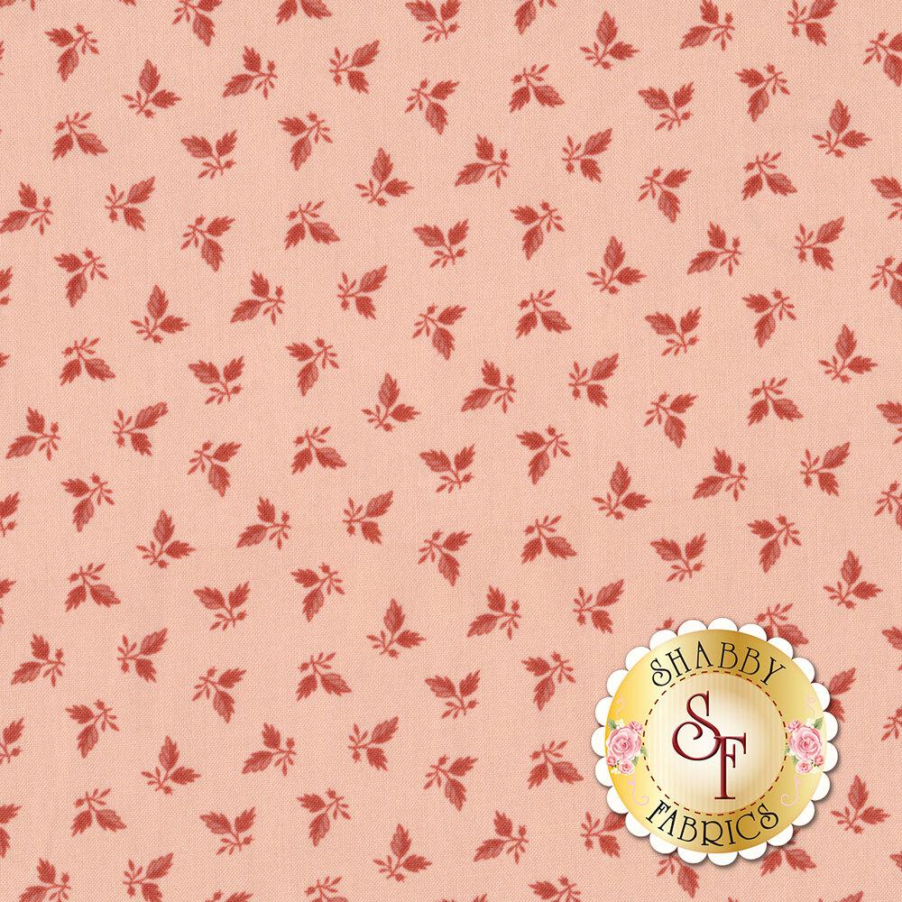Tonal leaves tossed on pink   Shabby Fabrics