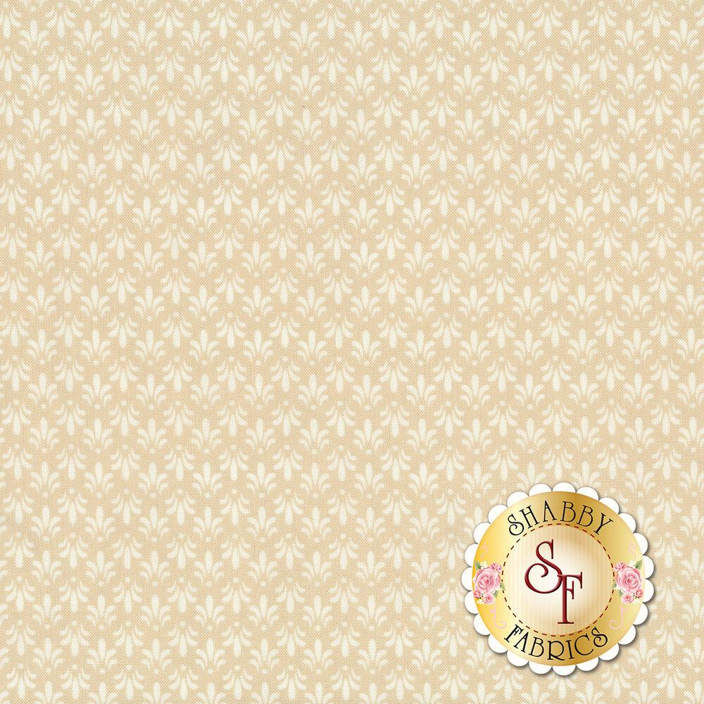 Tonal cream Fleur de Lis all over tan | Shabby Fabrics