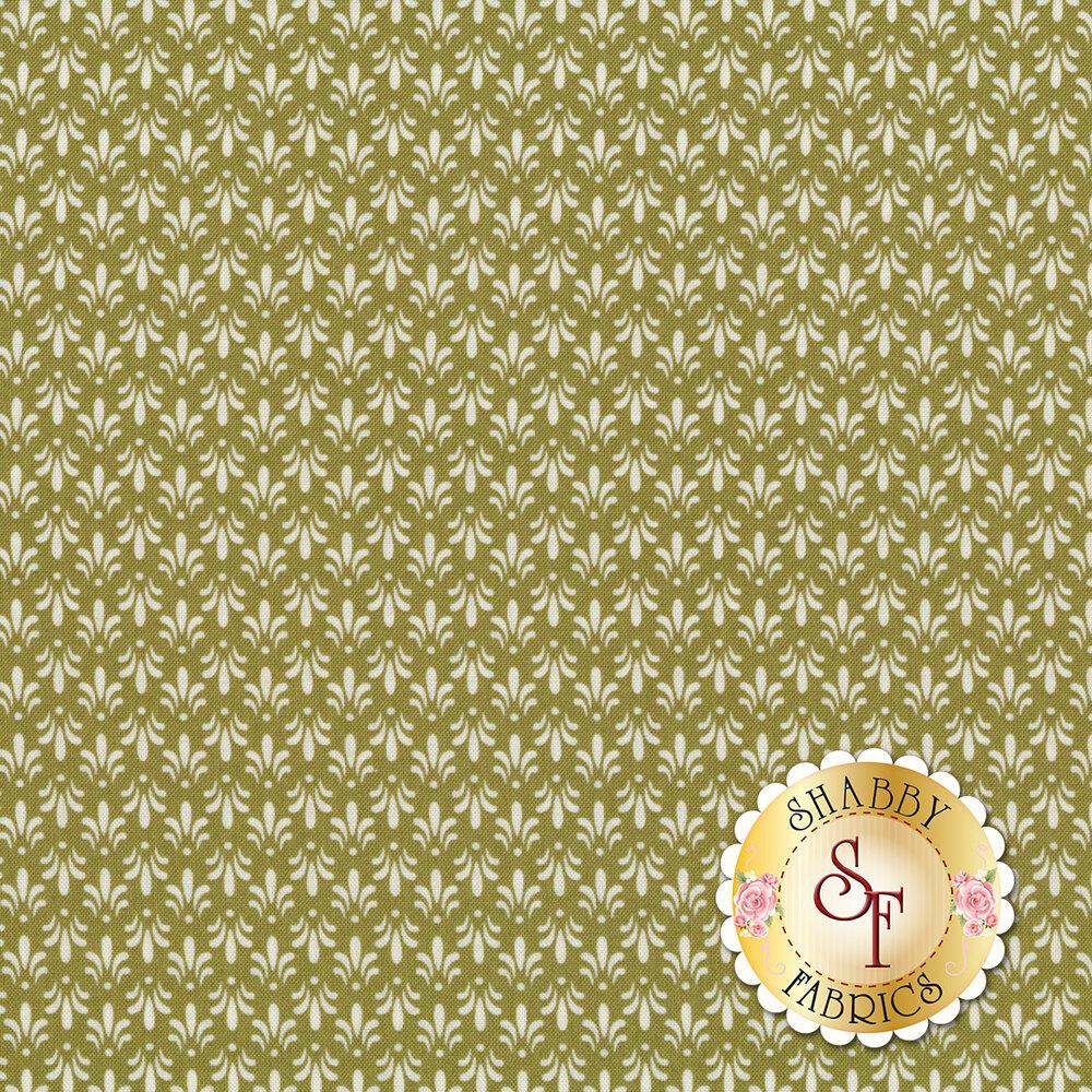 Small cream Fleur de Lis all over green | Shabby Fabrics