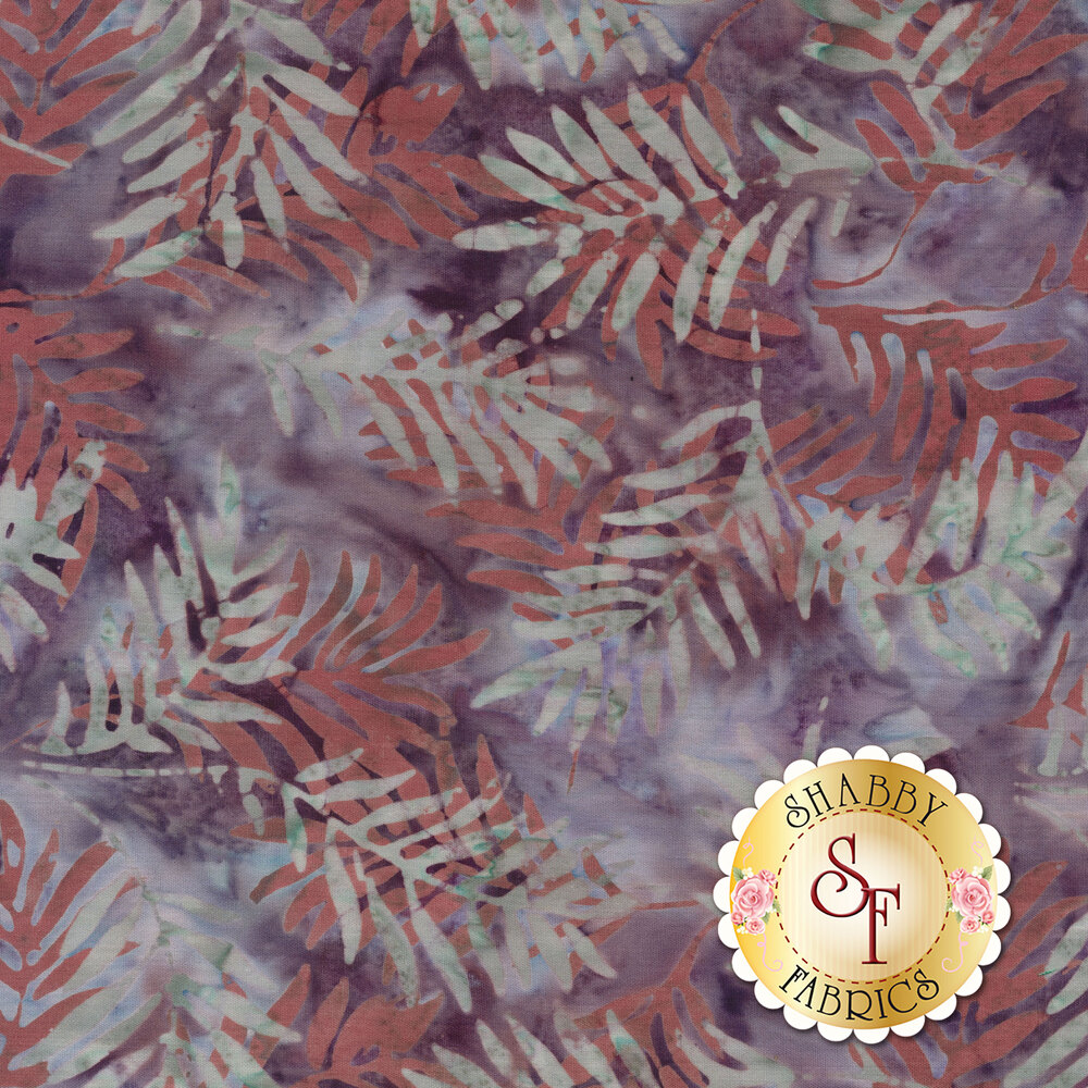 White and purple marbled batik with brick red and white leaves   Shabby Fabrics