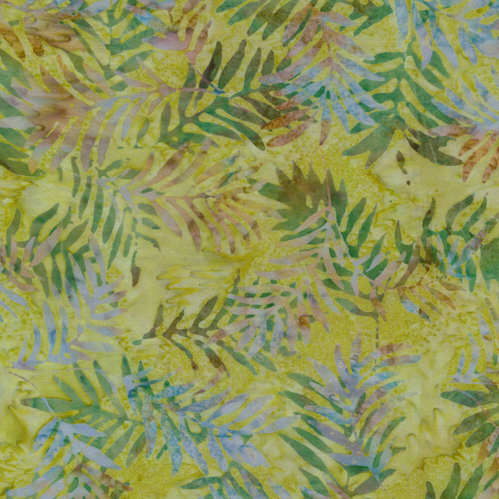 Marbled lime green batik with darker multi colored leaves all over | Shabby Fabrics