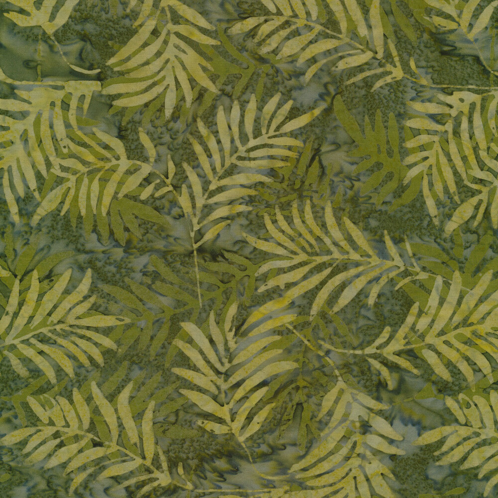 Marbled green batik with tossed tonal leaves  | Shabby Fabrics