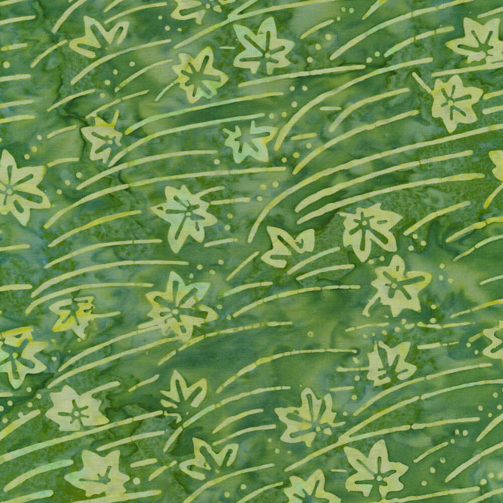Light green leaves and stripes on a dark green marbled background | Shabby Fabrics