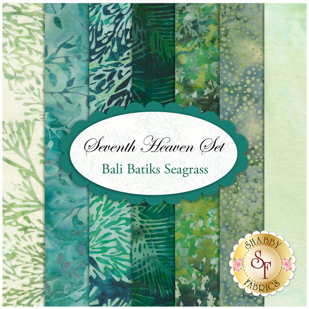 Collage of fabrics in Bali Batiks Seagrass set | Shabby Fabrics