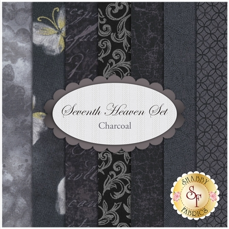 Seventh Heaven 7 FQ Set - Charcoal from Shabby Fabrics