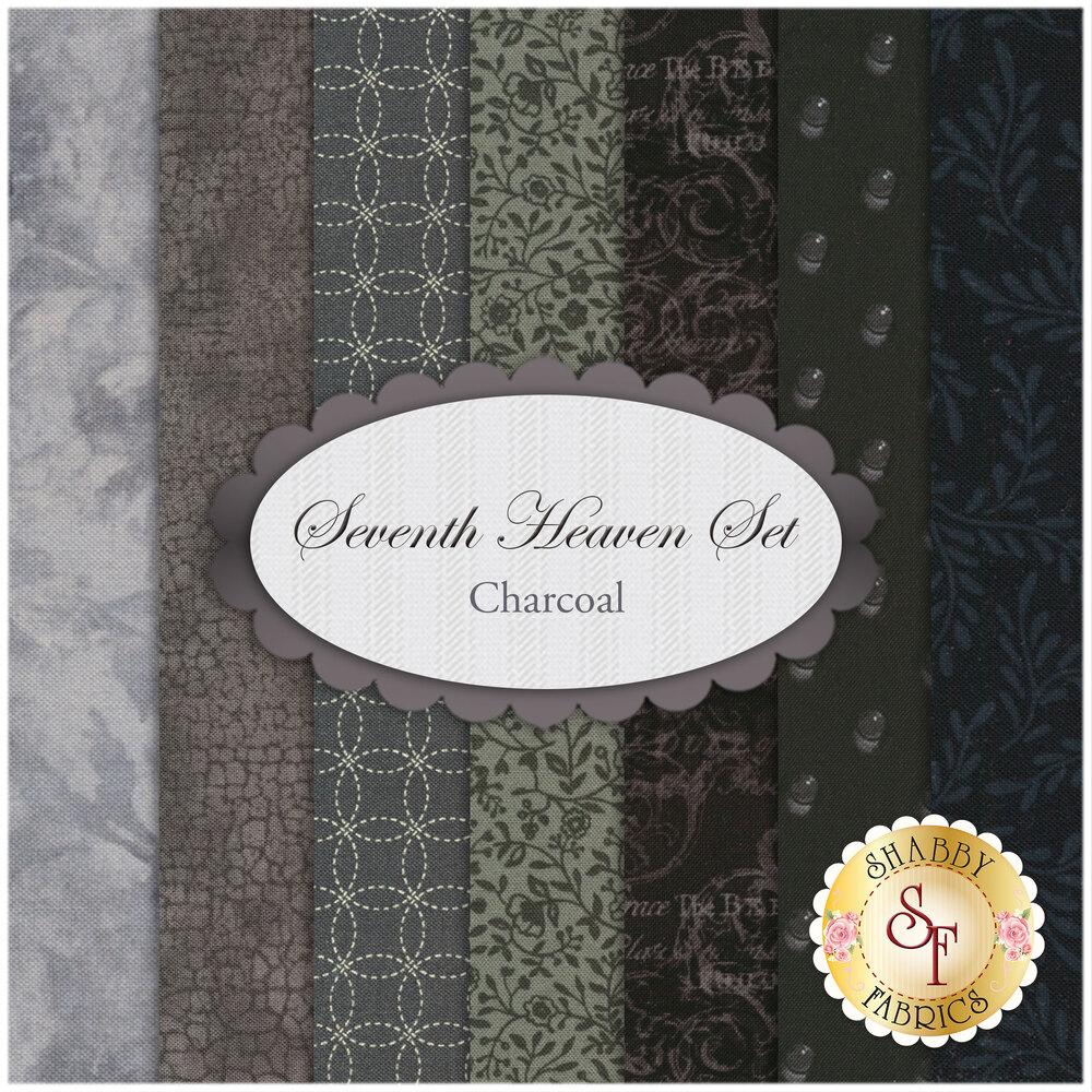 Seventh Heaven 7 FQ Set - Charcoal from Shabby Fabrics