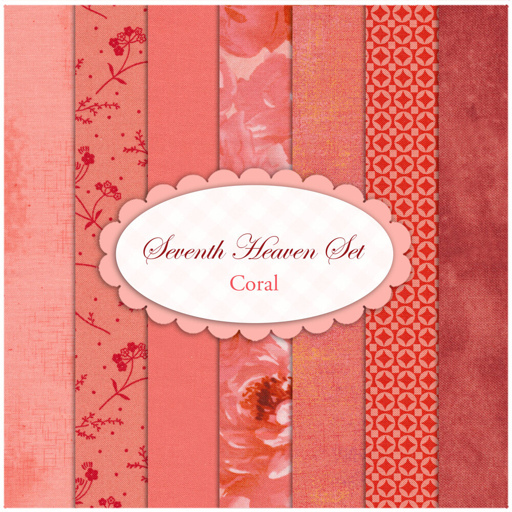 Collage of fabrics in Seventh Heaven Coral set | Shabby Fabrics