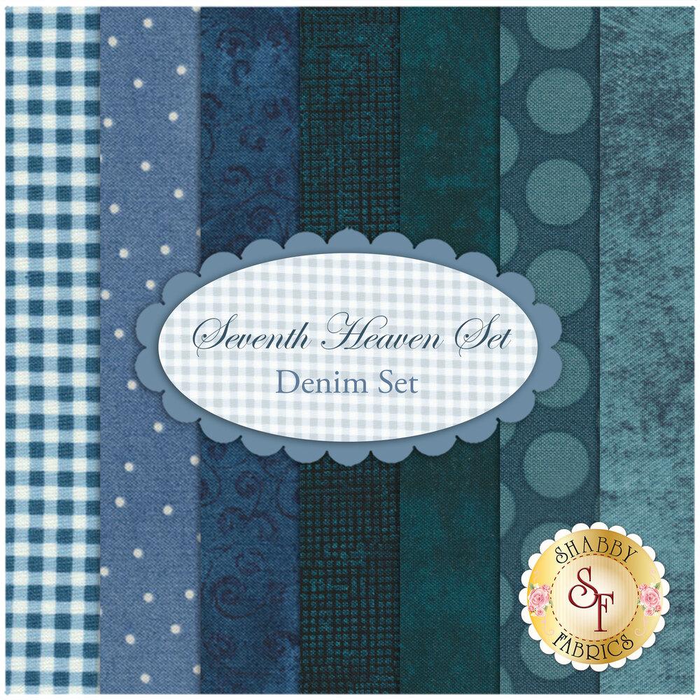 Seventh Heaven 7 FQ Set - Denim Blue from Shabby Fabrics