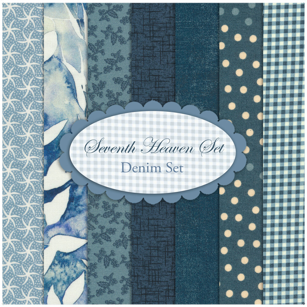Seventh Heaven 7 FQ Set - Denim Blue from Shabby Fabrics
