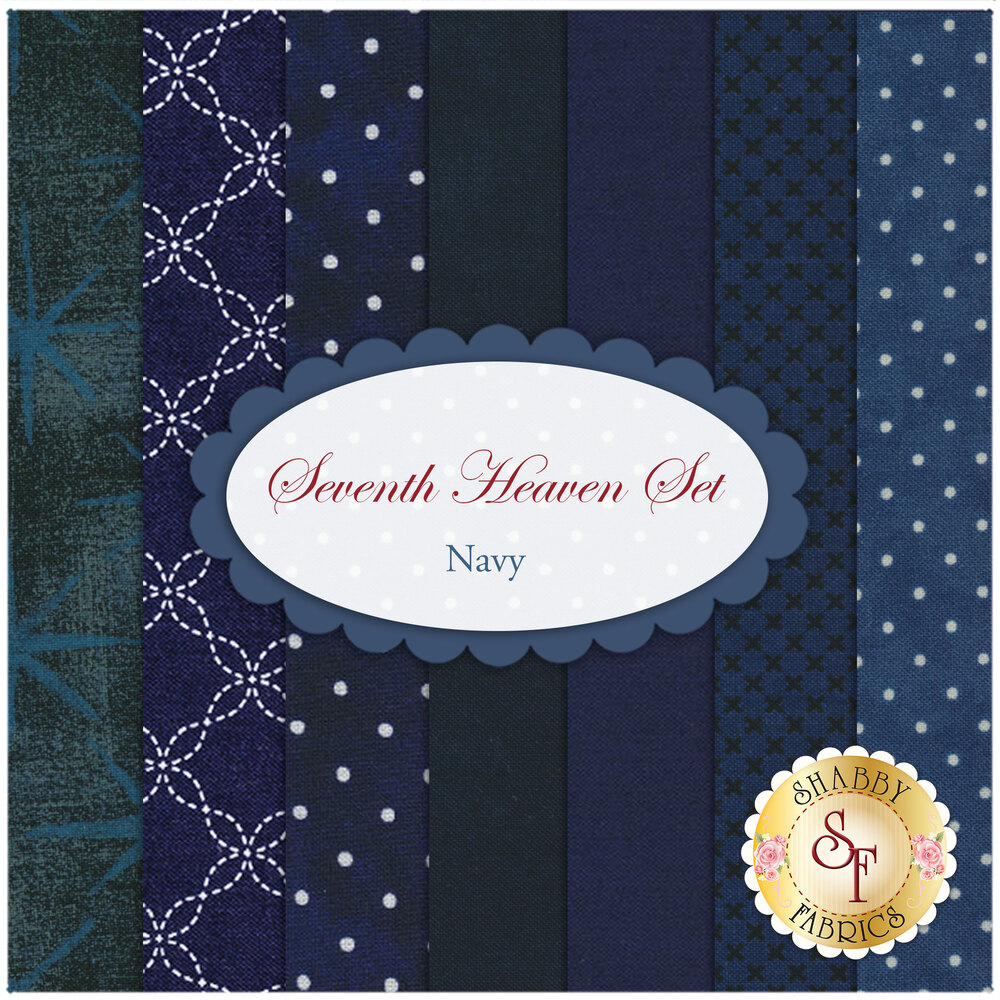 Seventh Heaven 7 FQ Set - Navy from Shabby Fabrics