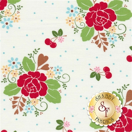 Sew Cherry 2 C5800-WHITE by Lori Holt for Riley Blake Design