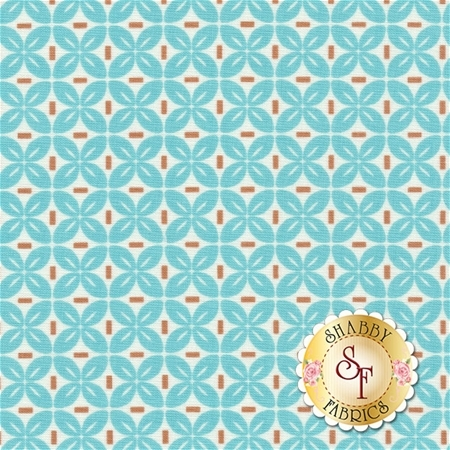 Sew Cherry 2 C5806-AQUA Leaf Aqua by Lori Holt for Riley Blake Designs
