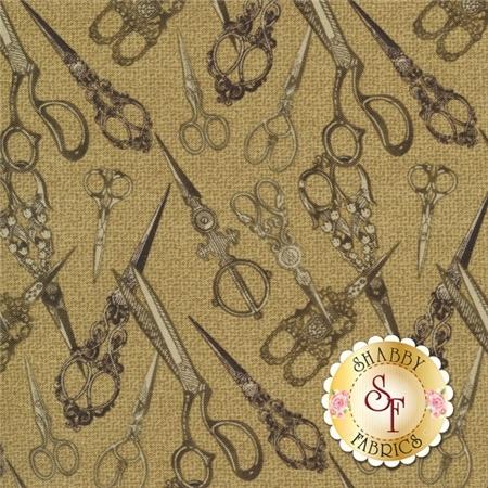 Sew Vintage 06022-77 Snip Snip Tonal Mocha by Bristol Bay Studio Benartex Fabrics