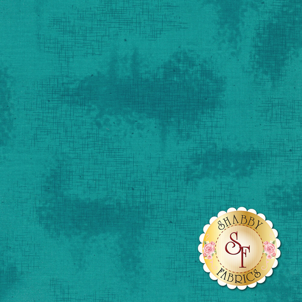 A basic teal tonal fabric with crosshatching and mottling | Shabby Fabrics