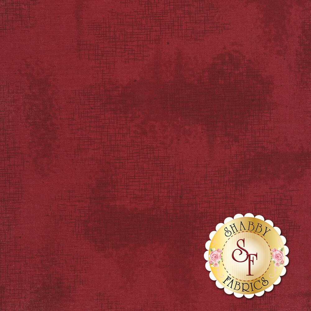 A basic red tonal fabric with crosshatching and mottling | Shabby Fabrics