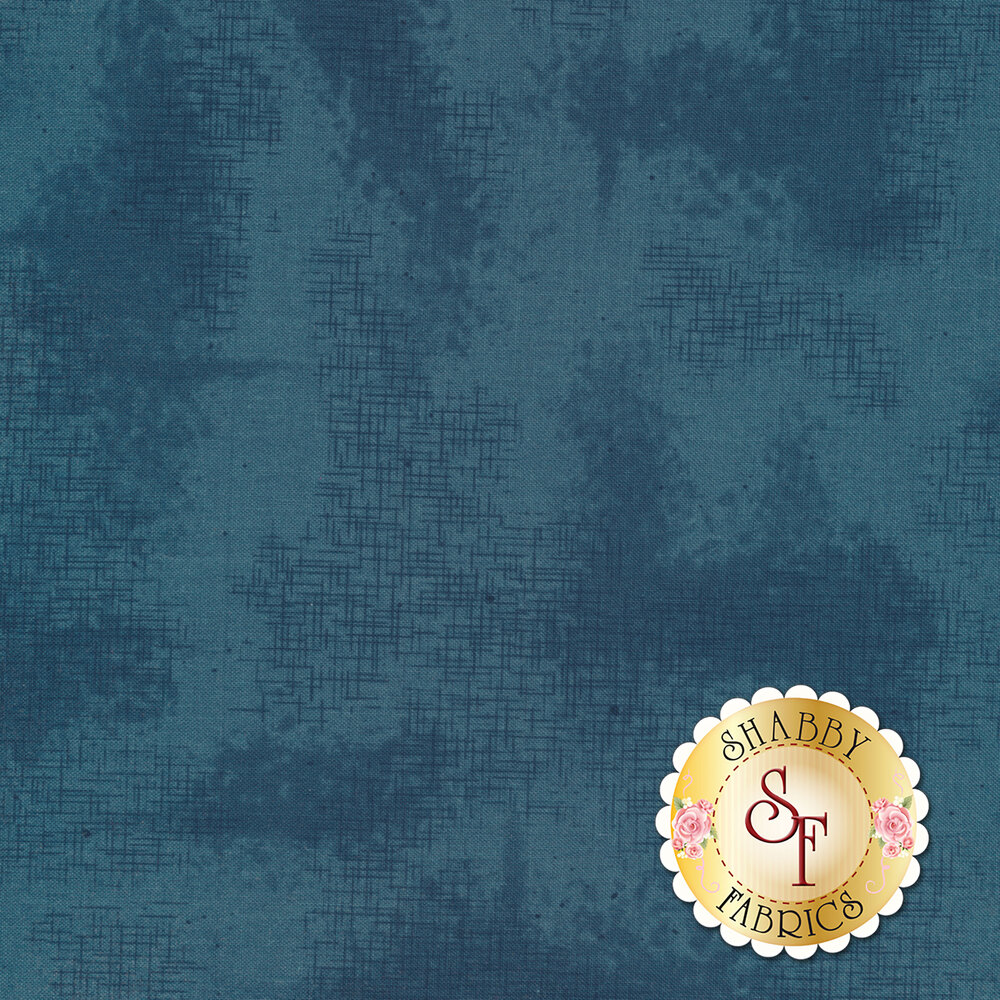 A basic blue tonal fabric with crosshatching and mottling | Shabby Fabrics