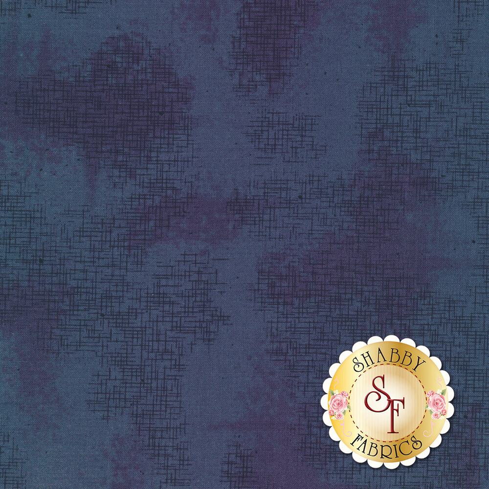 A basic blue fabric with crosshatching and mottling | Shabby Fabrics