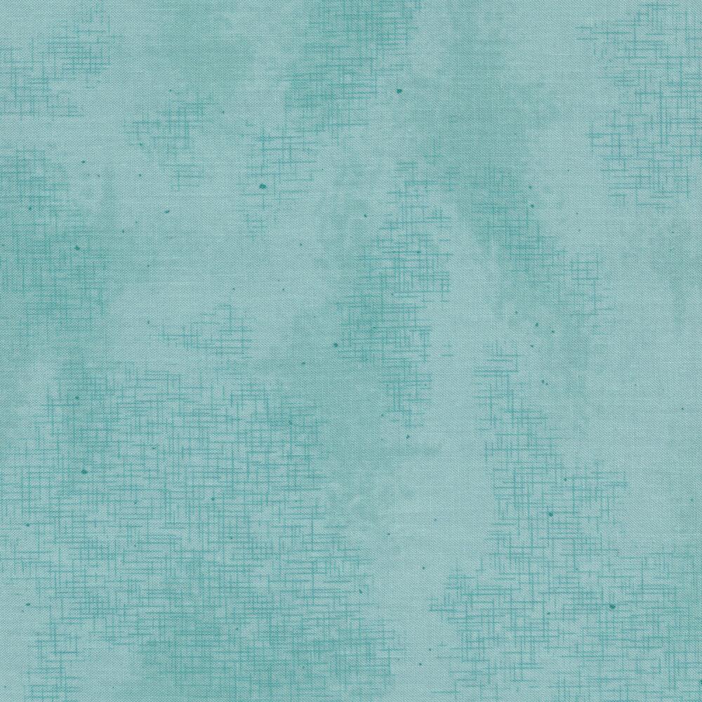 A basic aqua fabric with crosshatching and mottling   Shabby Fabrics
