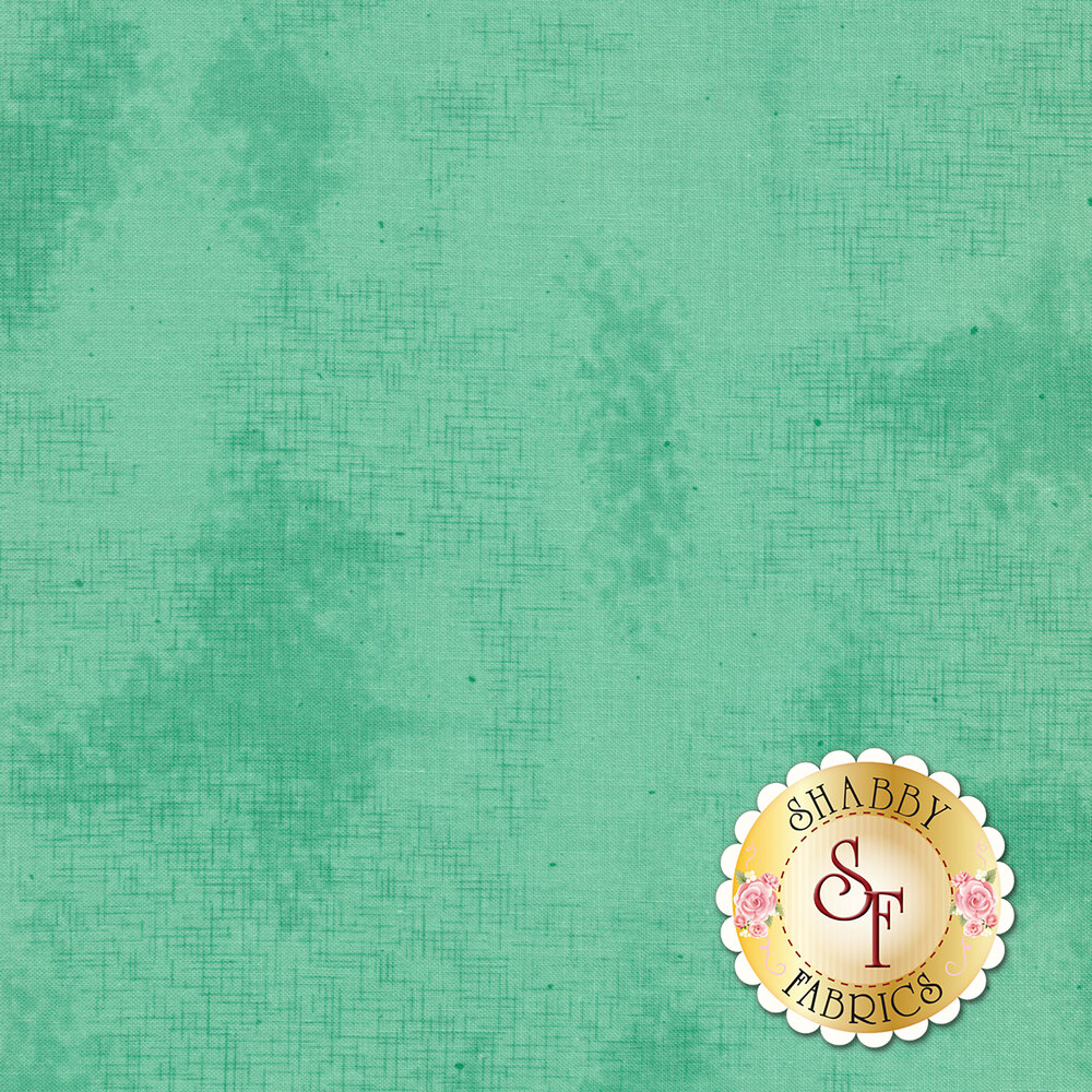 A basic teal fabric with crosshatching and mottling | Shabby Fabrics