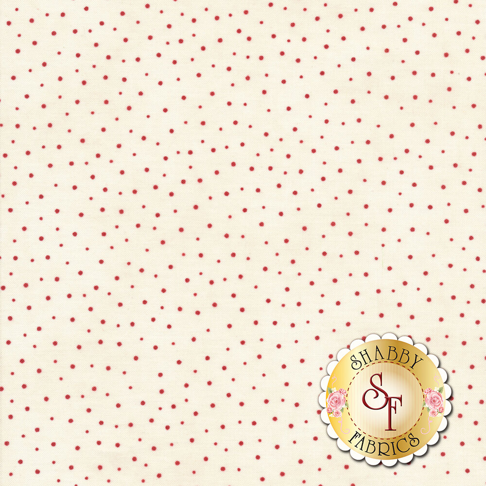 Small red dots scattered on cream   Shabby Fabrics
