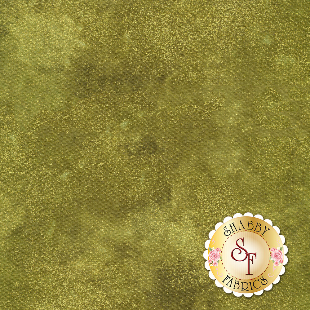Green mottled fabric with metallic shimmer | Shabby Fabrics