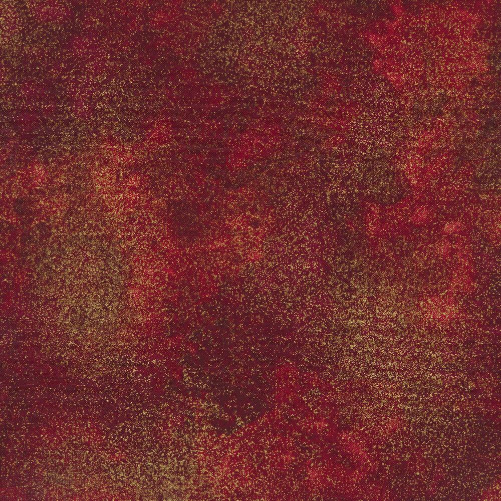 Dark red mottled fabric with metallic shimmer | Shabby Fabrics