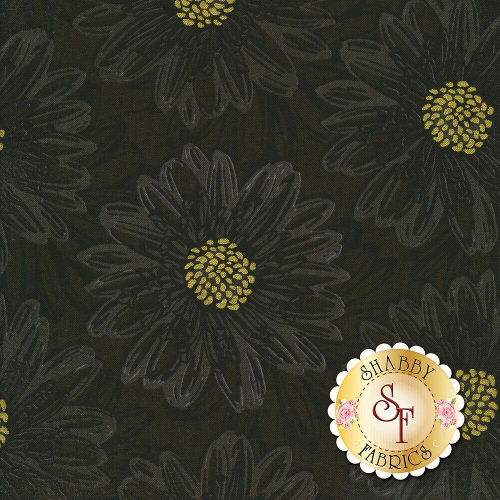 Beautiful metallic black tonal floral print | Shabby Fabrics