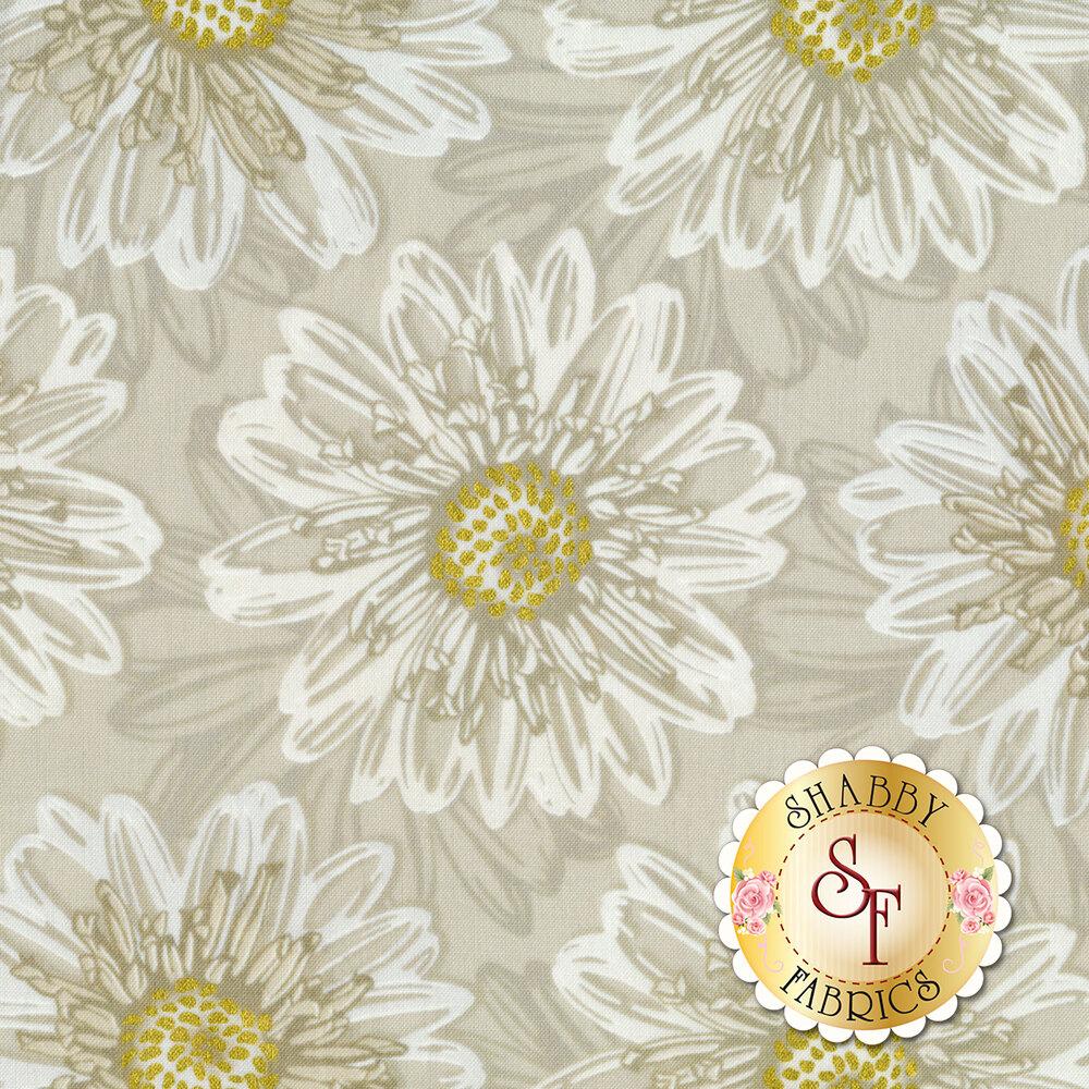 Beautiful metallic white tonal floral print | Shabby Fabrics